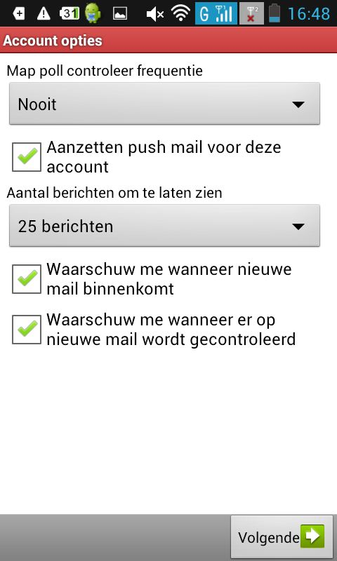 E-mail Android instellen screenshot 6