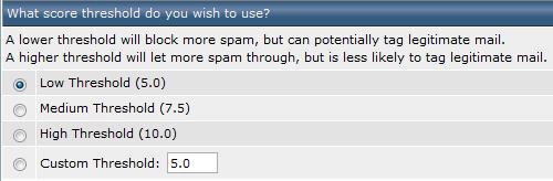 SpamAssassing - drempel instellen