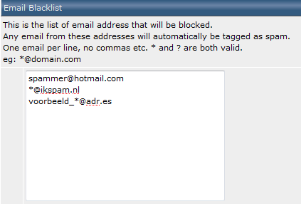 SpamAssassin - e-mail blacklist